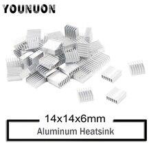 10Pcs YOUNUON Silver 14x14x6mm Aluminum Heat Sink Radiator Heatsink,Electronic Chip Cooling Radiator Cooler for IC MOSFET SCR ltc1255is8 trpbf ic mosfet dvr hi side двойной полумостовую 8soic ltc1255is8 1255 ltc1255 ltc1255i 1255i c1255
