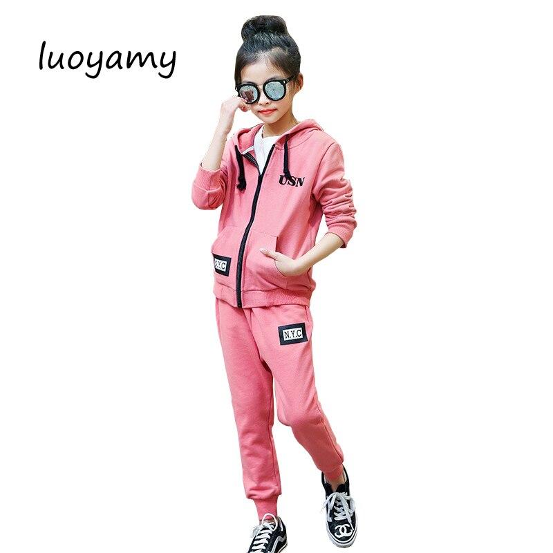 luoyamy Girls 2pcs/Set Tie Sport Suit Kids Printed Baby Tracksuit Children's Clothing Casual Long Zipper Clothes Sets женские толстовки и кофты 2 piece set women 2015 2 sport suit
