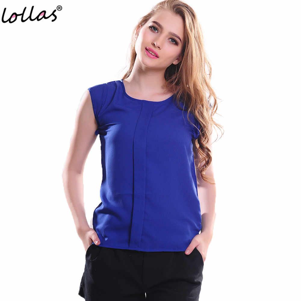 Lollasใหม่แฟชั่นผู้หญิงแขนสั้นElegantเสื้อผู้หญิงO-คอของแข็งสีชีฟองRufflesเสื้อทำงาน