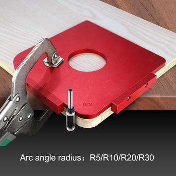 Okrągłe szablony narożne R5 R10 R20 R30 routery do drewna Jig Radius szybkozłącze Router stół Bit narzędzia do obróbki drewna tanie i dobre opinie YOMO Inne Maszyny do obróbki drewna Wiercenia drewna Carbide R5 R10 R20 R30 900g 180*180*8mm