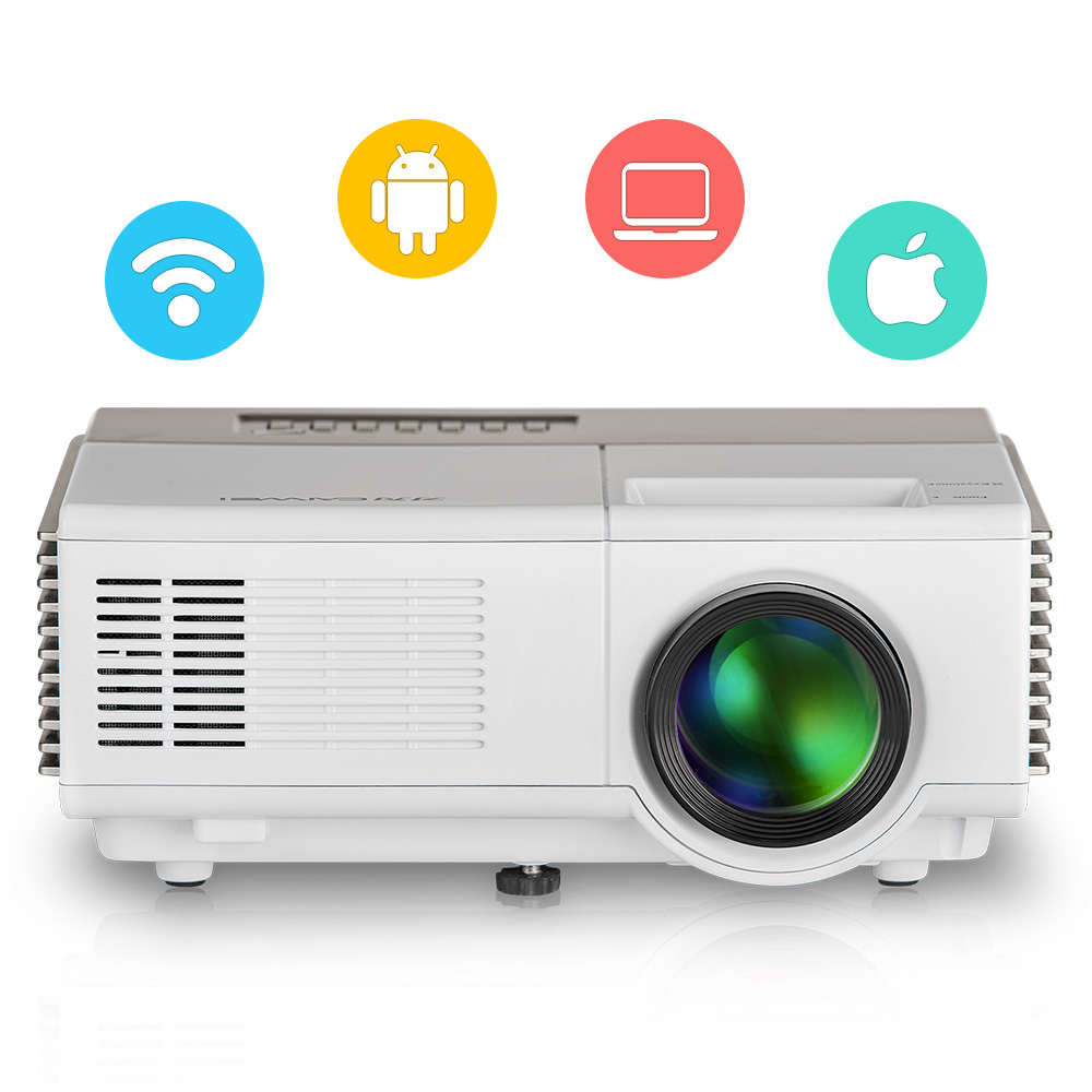CAIWEI Portable Android Mini LED Projector WiFi Wireless HD Video Movie Home Theater Projector HDMI TV AV USB