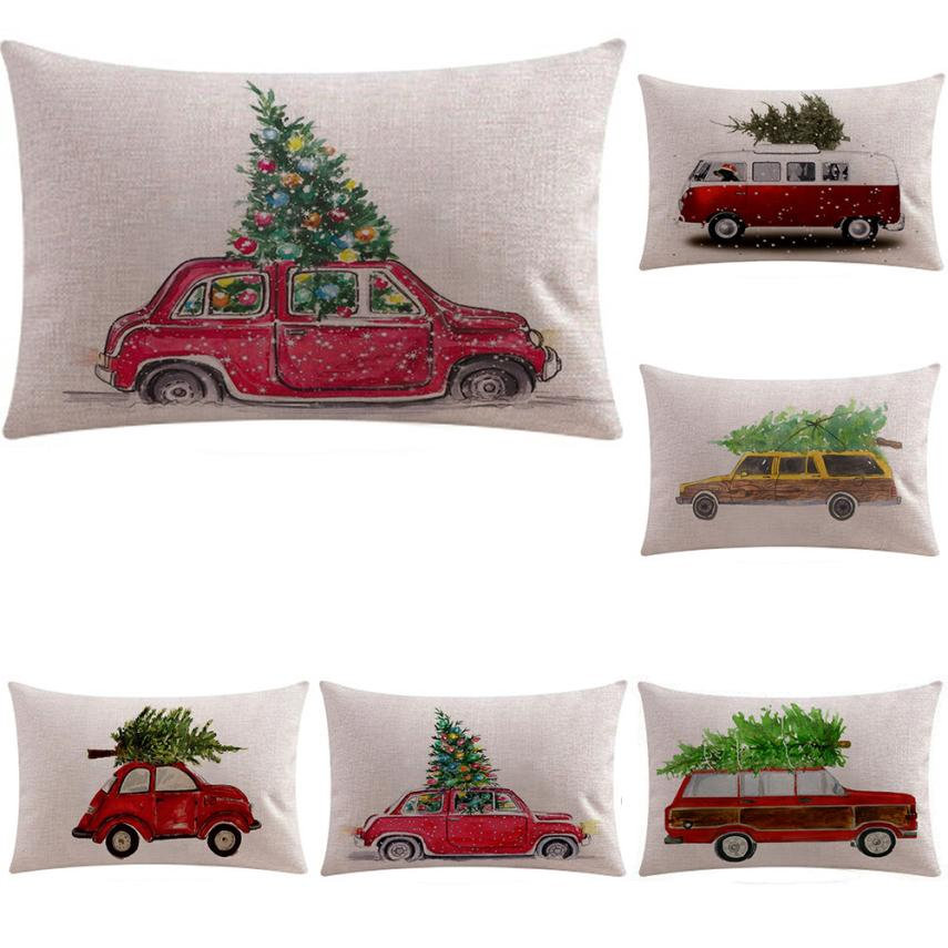 Christmas Xmas Linen Cushion Cover Throw Pillow Case Home: Christmas Rectangle Cushion Cover 30x50cm Cotton Linen