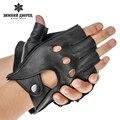 Moda guantes de cuero de los hombres, negro de piel de oveja macho guantes de cuero, estilo Punky guantes sin dedos de cuero, diseño Hueco