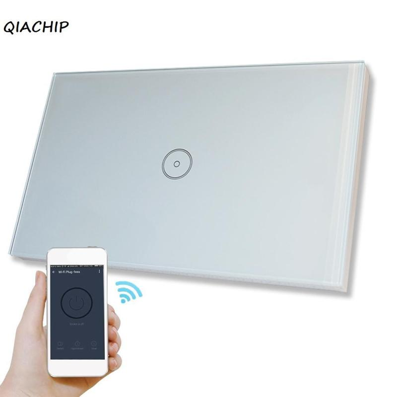 QIACHIP US Plug WiFi Smart Switch Remote control light Wall Switch Touch Panel APP Control Work With Amazon Alexa Voice Control k1rf ltech one way touch switch panel ac200 240v input can work with vk remote