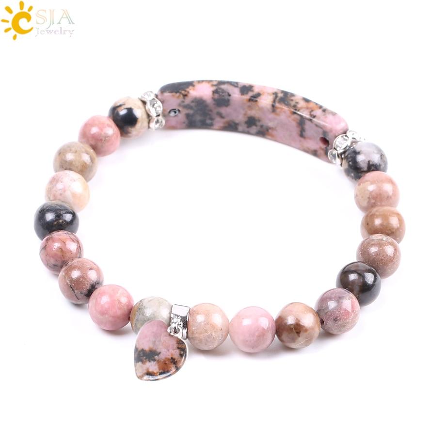 Csja Natural Gemstone Armbånd Line Rhodonite Love Heart Setting Perler fra Healing Stones Armbånd Rektangel Stones for ...