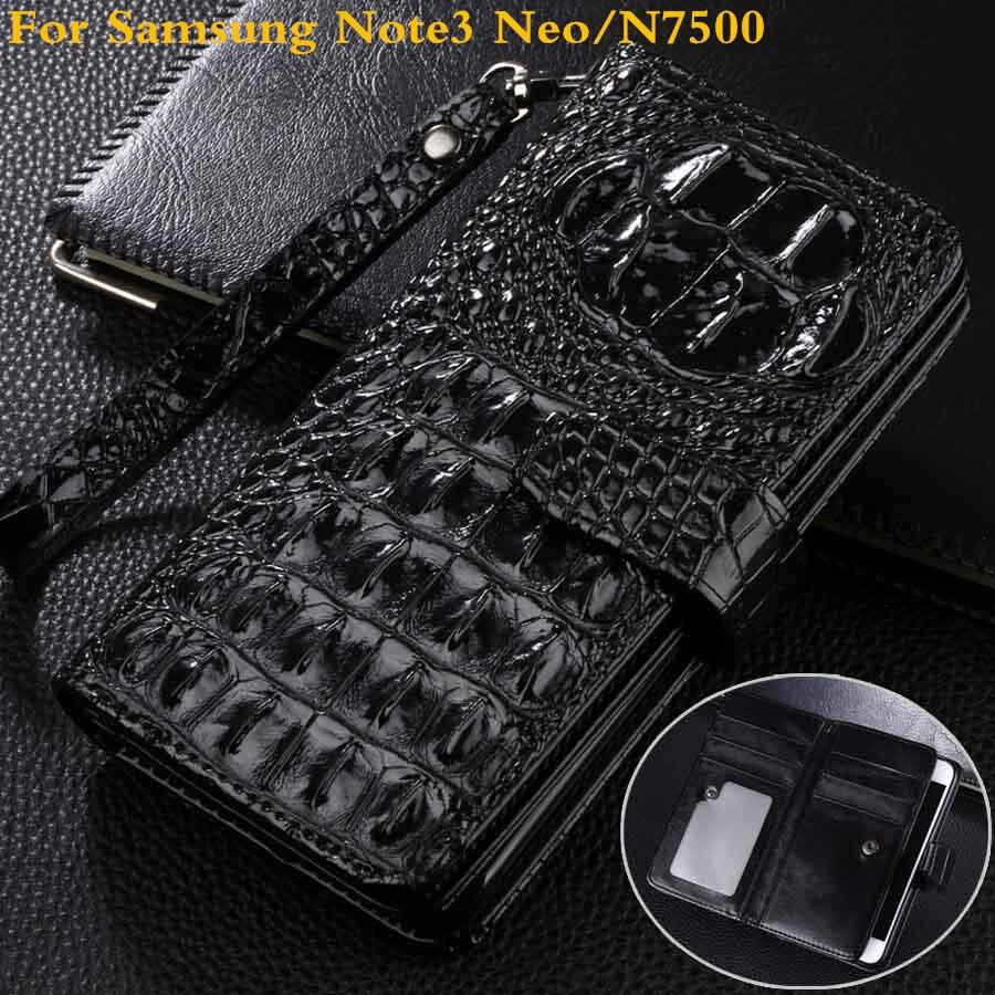 imágenes para Monedero de lujo Del Tirón de La Pu Cubierta de cuero Para Samsung Nota 3 Caja Del Teléfono para Samsung NOTE3 NEO Neo 3D Crocodile N7500 Teléfono bolsa