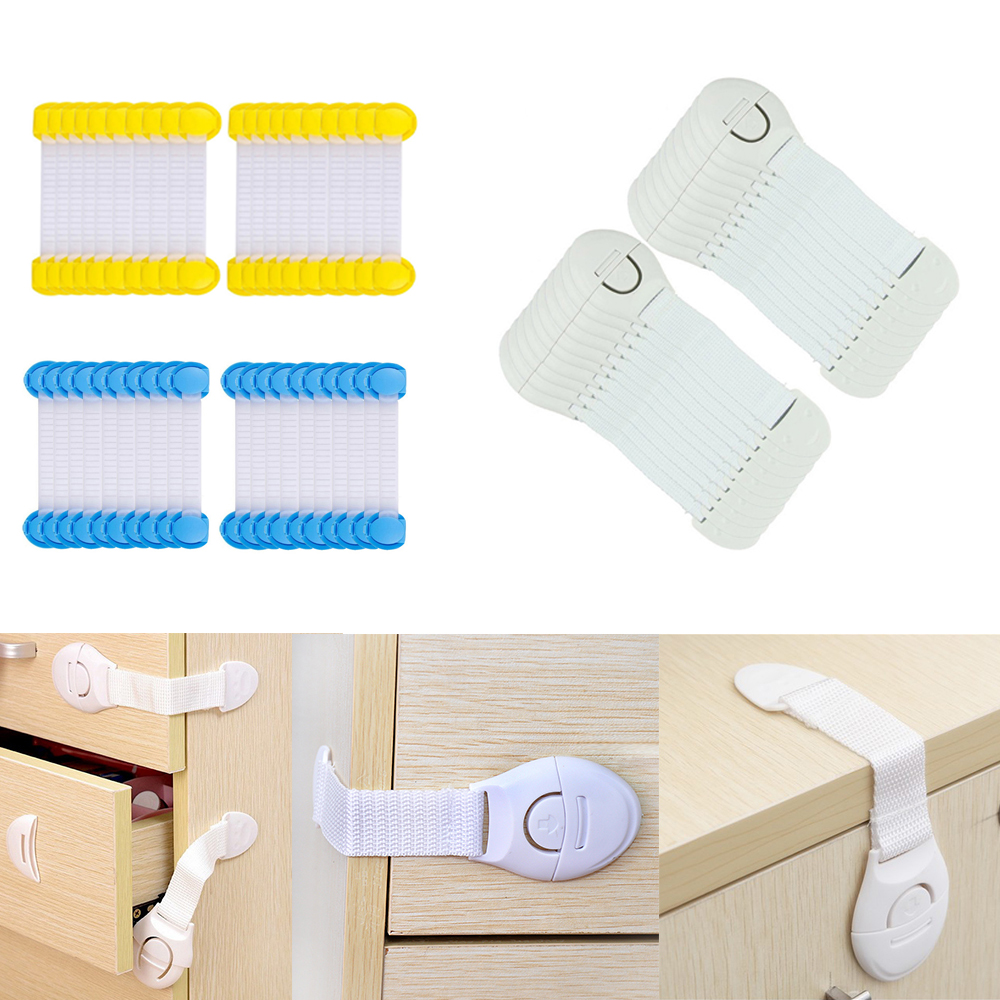 20pcs/Lot Kids Safety Care Plastic Locks Drawer Door Cabinet Cupboard Toilet Safety Locks Baby Safe Protection Props Child Lock