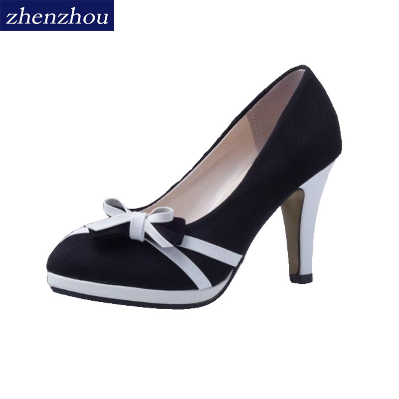 ZHENZHOU Women Pumps 2018 spring and autumn fine with high heel bow sweet women's shoes with round head and round head.