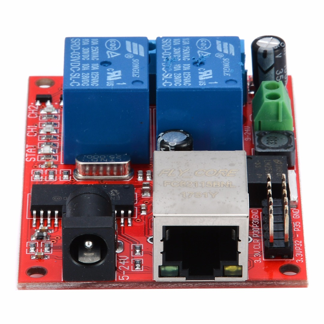 1pc 2-Way Ethernet Delay Relay Module DC5V TCP/UDP Controller Module Network Switch WEB Server