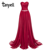Tanpell split front evening dresses burgundy strapless floor length dress watteau train ruched chiffon party long evening gown