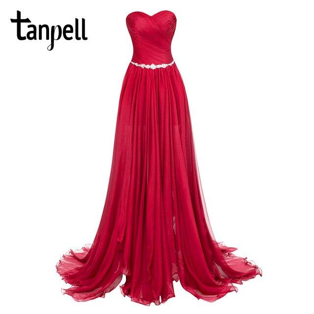 Tanpell スプリットフロントイブニングドレスブルゴーニュストラップレス床の長さのドレスワトートレインシャーリングシフォンパーティーロングイブニング