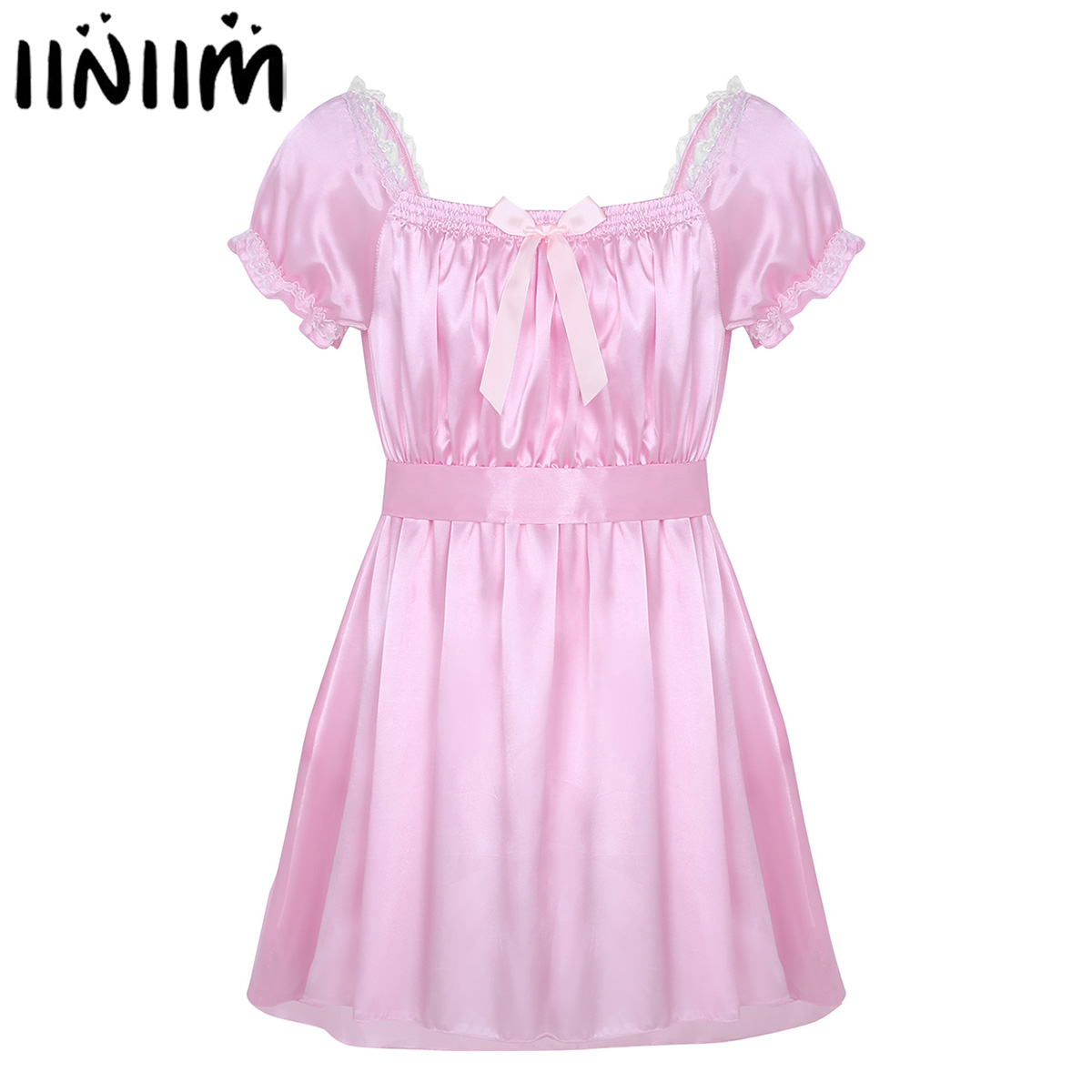<font><b>Mens</b></font> <font><b>Sexy</b></font> <font><b>Lingerie</b></font> Underwear Dress Babydoll Costumes Shiny Crossdress Male with Sash Gay Bowknot Sissy Panties Underpants image