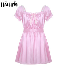 Mens Sexy Lingerie Underwear Dress Babydoll Costumes Shiny Crossdress Male with Sash Gay Bowknot Sissy Panties Underpants