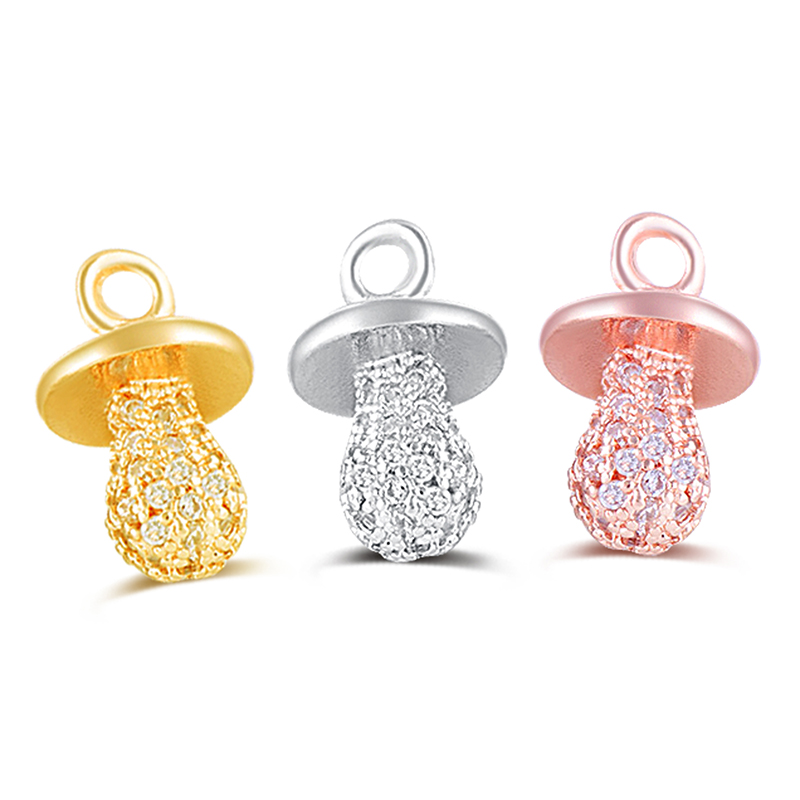 Jewelry Making Supply Copper CZ Rhinestone Cute Pacifier Dangle Pendant Fit Original Pando Bracelet Charm For Women DIY Findings