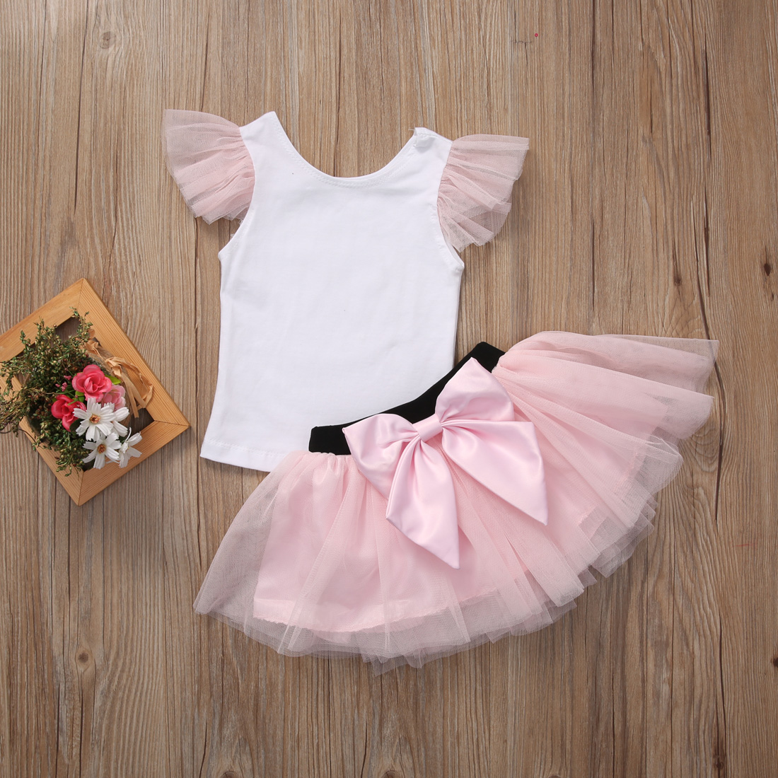 2PCS/Set Mother Daughter Kids Girls Summer Outfits T-shirt+Skirt Tulle Dress Clothes Set 7 50 1089872