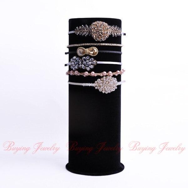 JEROLLIN Top Luxury Black Velvet Big T-Bar Jewelry Head Band Display Stand Organizer Cylindrical Jewelry Display Showcase Holder