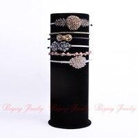 2014 Top Cylindrical Jewelry Display Showcase Holder Luxury Black Velvet Big T Bar Jewelry Head Band
