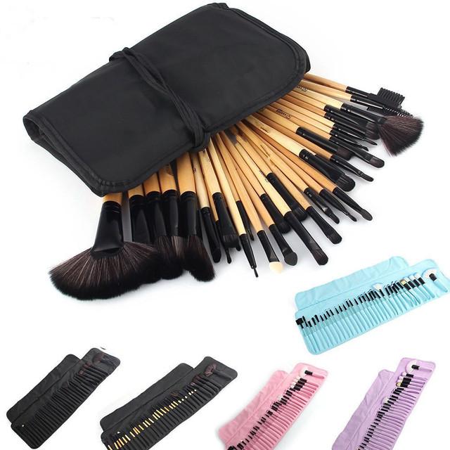 32 Unids/set Barras de Labios Maquillaje Profesional Fundación Pincel de Sombras de Ojos En Polvo Maquillaje Pinceles Herramientas Bolsa pincel maquiagem