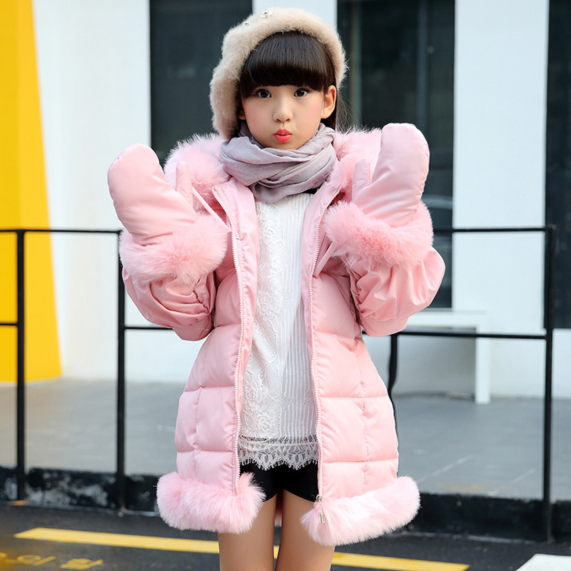 Girls padded jacket 2017 winter clothing new fashion baby girls hooded coat big virgin 5/6/7/8/9/10/11/12/13/14 years цены онлайн