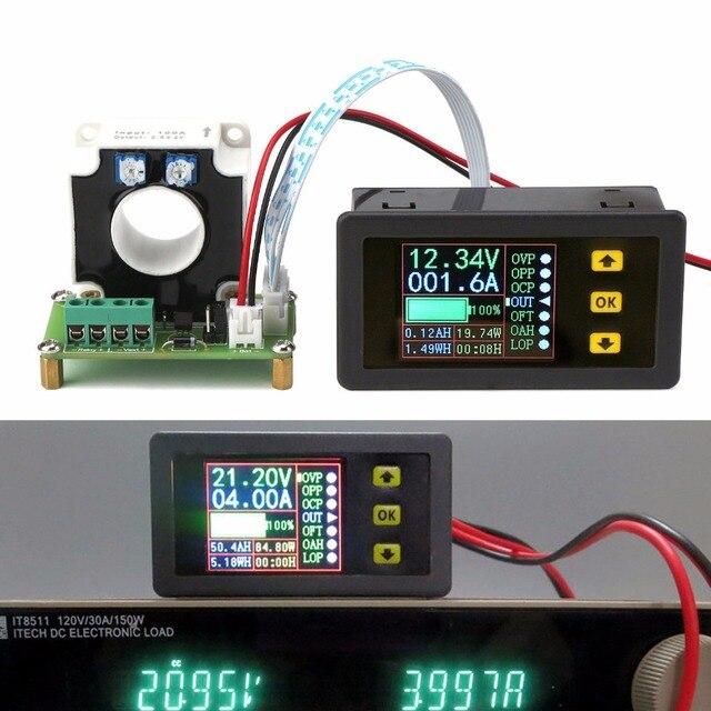0 500A قاعة Coulomb متر متعدد LCD تيار مستمر ثنائي الاتجاه الجهد الحالي قدرة الطاقة الوقت رصد البطارية تهمة التفريغ