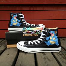 Gifts Pokemon Go Girls Boys Converse Chuck Taylor Black Shoes Anime Nidoqueen Design Hand Painted High Top Women Men Sneakers