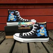 Подарки Pokemon Go для мальчиков и девочек Converse Chuck Taylor черная обувь аниме Nidoqueen Дизайн ручная роспись Высокий Верх Для женщин мужские кроссовки 9908