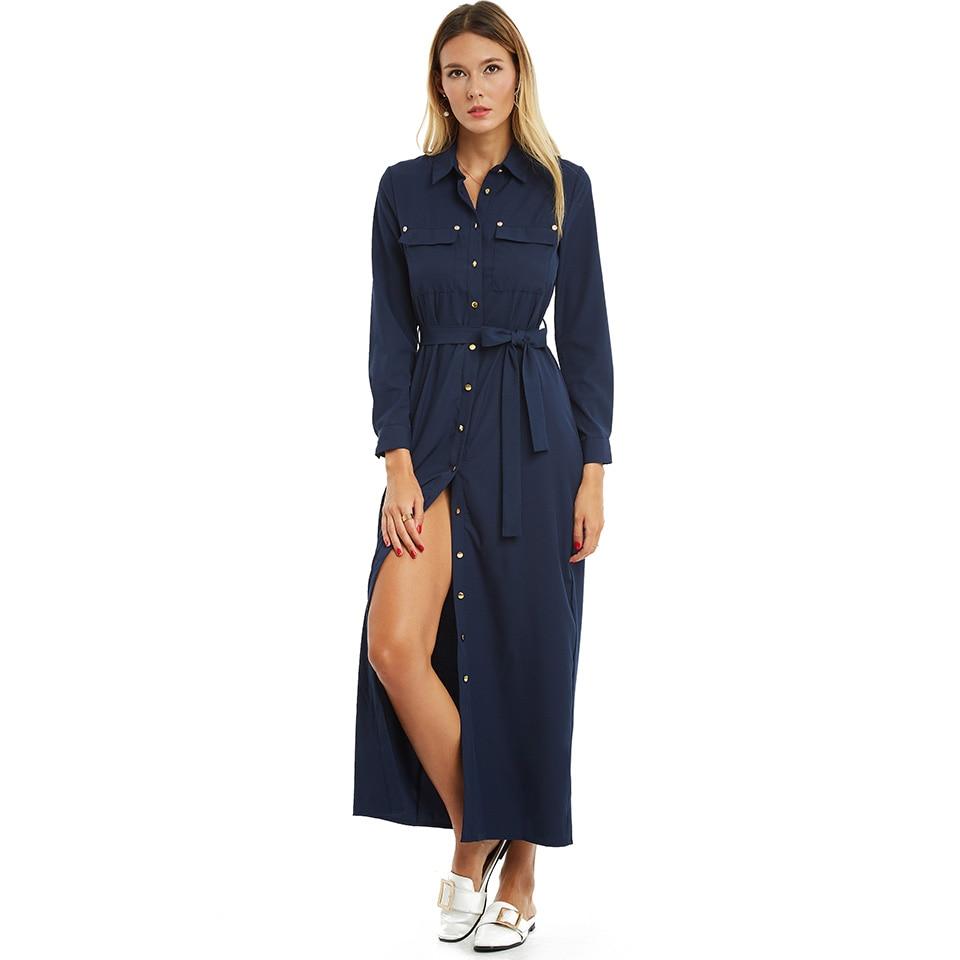 Autumn Casual Dress Long Sleeve Lapel Single Button Beach