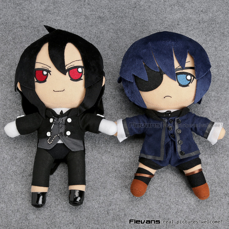 Anime Black Butler Kuroshitsuji Ciel Sebastian Michaelis Plush Toys Soft Stuffed Dolls 10 25cm ANPT495 anime kuroshitsuji black butler ciel phantomhive short straight gray and blue mixed synthetic hair ponytails cosplay party wig