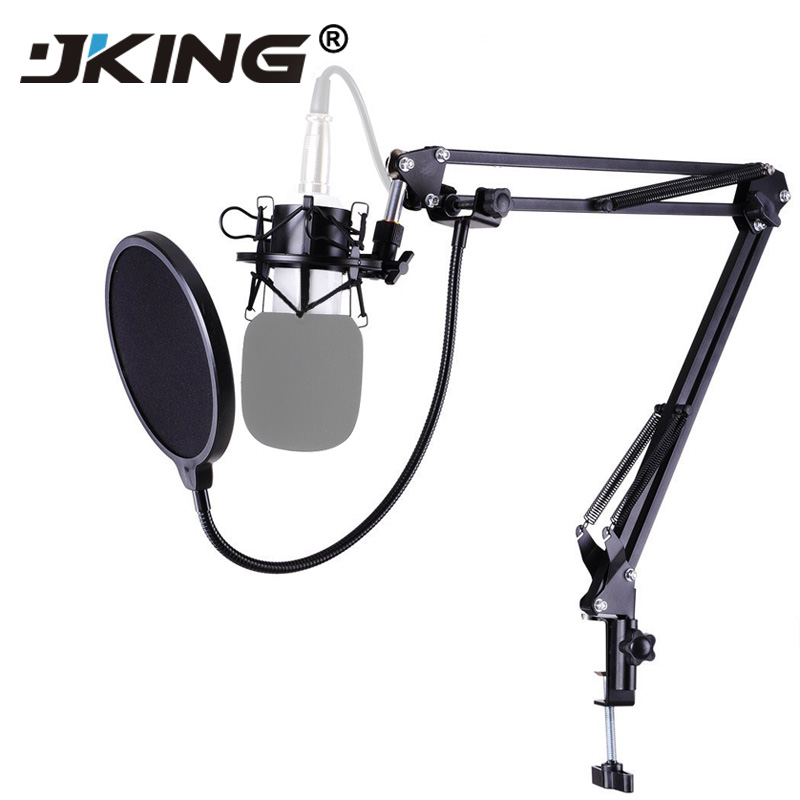 JKING NB-35 Microphone Scissor Arm Stand Mic Clip Holder and Table Mounting Clamp& Filter Windscreen Shield & Metal Mount Kit
