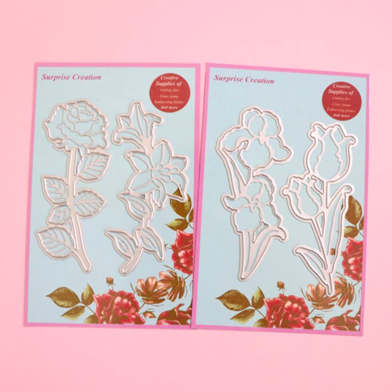 Surprise Creation 2-Set Combination Rose & Lily Iris & Tulip Cardmaking & Scrapbooking