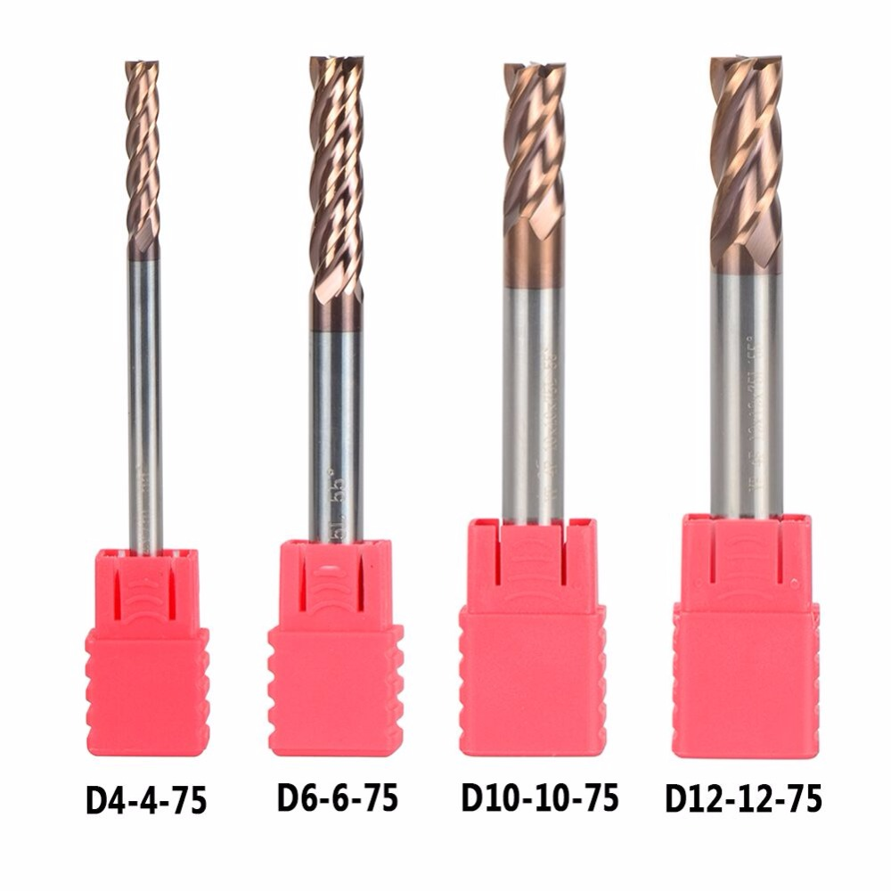 Free Shipping Tungsten Steel End Mills D4/6/10/12-75 4 Flute Flattened Head High Quality HRC55 CNC Milling Carbide End mills