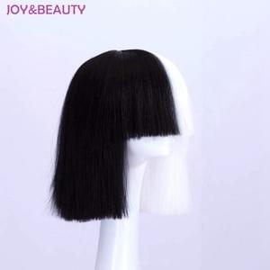 Image 2 - JOY & BEAUTY Peluca de pelo liso corto, mezcla de pelo negro, blanco, dorado, fibra de alta temperatura, disfraz de Sia, 35cm de largo