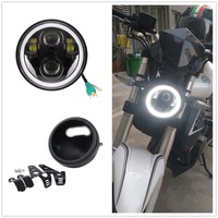 Motorcycle White Halo 5.75 LED Headlight With 5 3/4 Lamp Shell Bucket Housing Bracket for Honda Shadow Kawasaki Vulcan