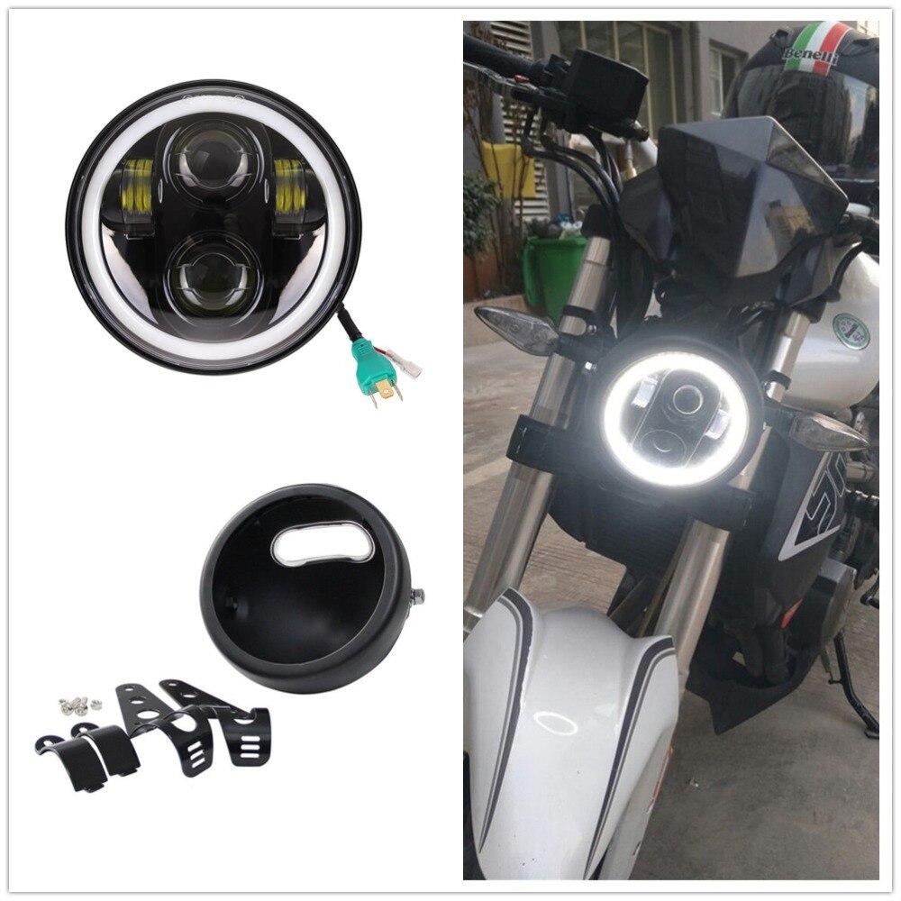 "Motorcycle White Halo 5.75"" LED Headlight With 5 3/4 Lamp Shell Bucket Housing Bracket for Honda Shadow Kawasaki Vulcan   -"