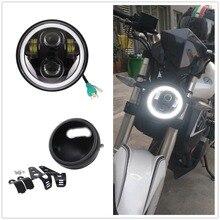 Мотоцикл Белый Halo 5,75 «светодиодный фонарь с 5 3/4 лампа корпус ковша кронштейн для Honda Shadow Kawasaki Vulcan