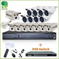 Наружного видеонаблюдения POE Системы с 16ch 1080 P 2 SATA NVR, 16 шт. 720 P HD vandalpoof Открытый poe камер и 16ch коммутатор PoE