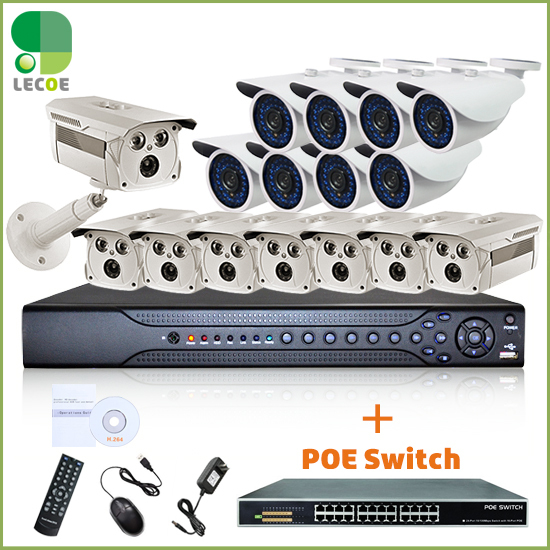 CCTV Security Outdoor POE System with 16CH 1080P 2 SATA NVR ,16pcs - Security and Protection