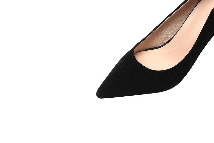 Apricot Femmes Véritable Hauts 34 À 2019 Mince Chaussures Bout Talons gris En Profonde Taille Pointu De Base Cuir Professionnelles Pompes noir 43 Simples Qutaa Peu 4z5BwxFqx