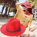 Nueva Llegada Anti-Ultravioleta Del Sol Sombreros de Playa Sombrero de Ala Ancha Para Mujeres Kentucky Derby sombreros de Cubo Sombreros de Moda Sombrero de Paja de Verano 2016 Panamá