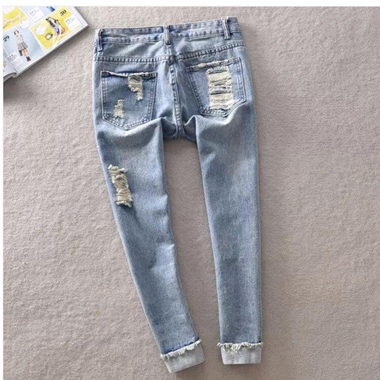 Aliexpress.com : Buy Boyfriend Style Ripped Jeans Woman Red Lips ...