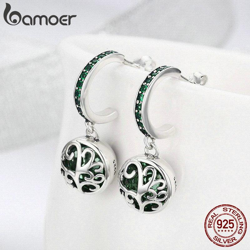 BAMOER authentique 925 en argent Sterling ensembles arbre de vie vert cristal AAA CZ bijoux ensemble en argent Sterling bijoux cadeau ZHS053 - 4