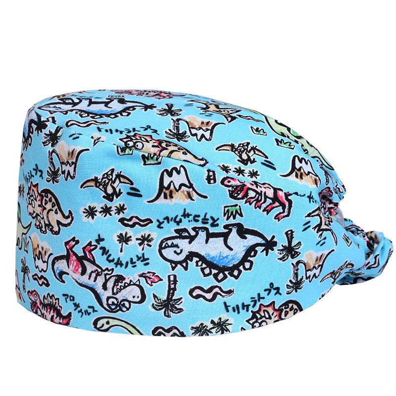 Stylish Scrub Surgeons Caps Versatile Dinosaur Blue Cotton Surgical Caps Scrub Hats For Women And Men Tieback With Sweatband