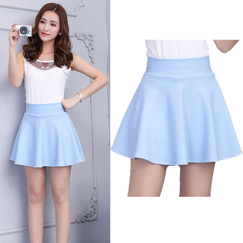 7d18ca3c52 SNOW PINNACLE Women Mini Skirt Casual Solid Pink high waist School office  pleasted A-line