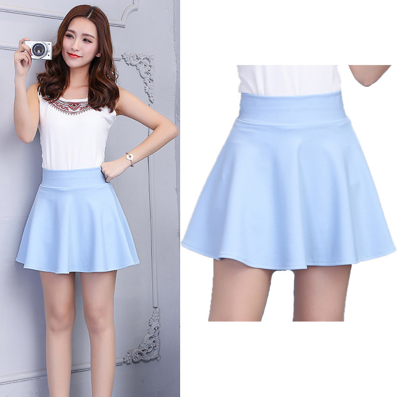 154905f8264 SNOW PINNACLE Women Mini Skirt Casual Solid Pink high waist School office  pleasted A-line