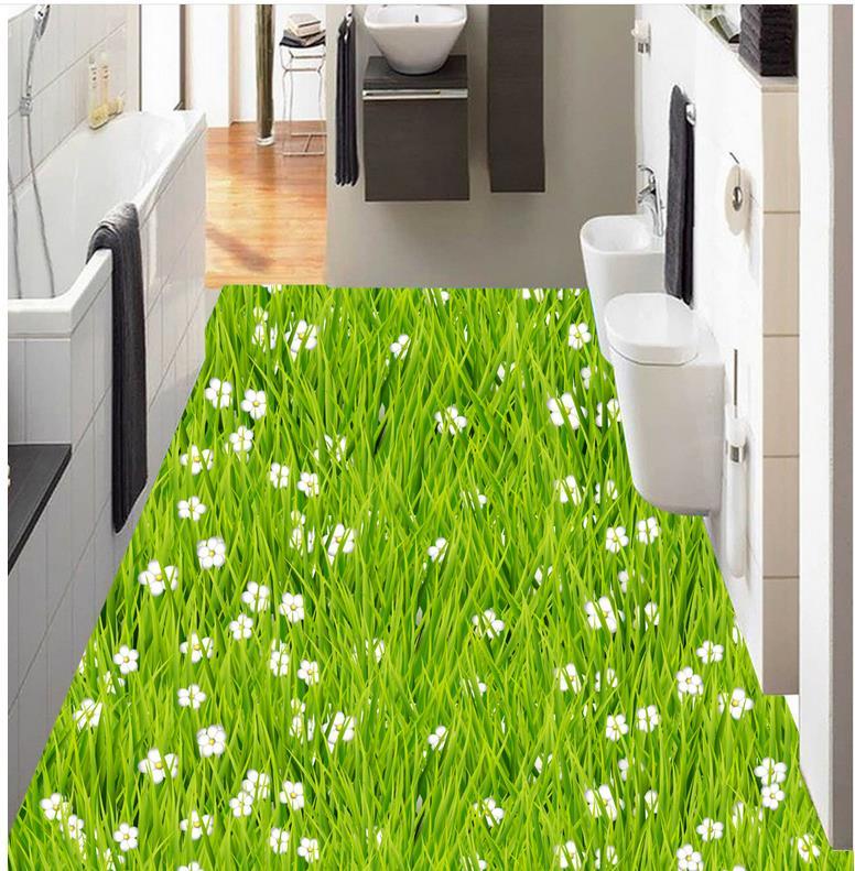 3d badezimmer tapete wasserdicht Rasen gras blume boden bad küche 3d ...