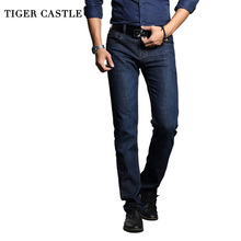 TIGER CASTLE Classic Mens Skinny Business Work Pants Casual Cotton Straight Male Work Jeans Biker Homme Denim Trousers