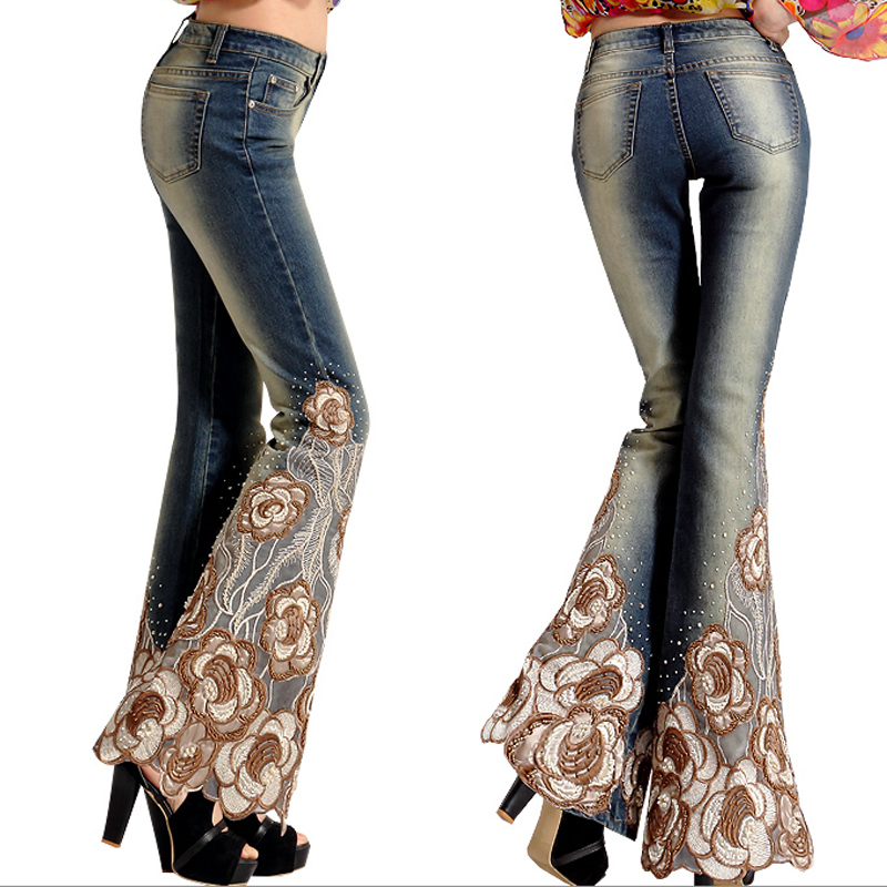 Winter Women's Embroidered Jeans Female Denim Trousers