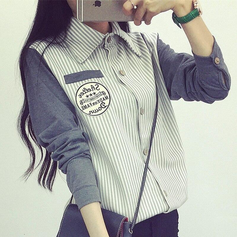 Nuevo  Mujeres Camiseta Top de La Moda de Rayas Costura Señoras Blusa Marca Muje