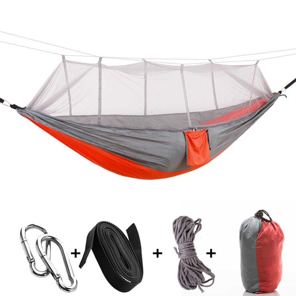 Portable Folding Parachute Hammock Double Person Survival Hunting Mosquito Net Carabiners Travel outdoor furniture Hammocks double camping hammock mosquito bug net hammock tree straps carabiners easy assembly portable parachute for survival travel