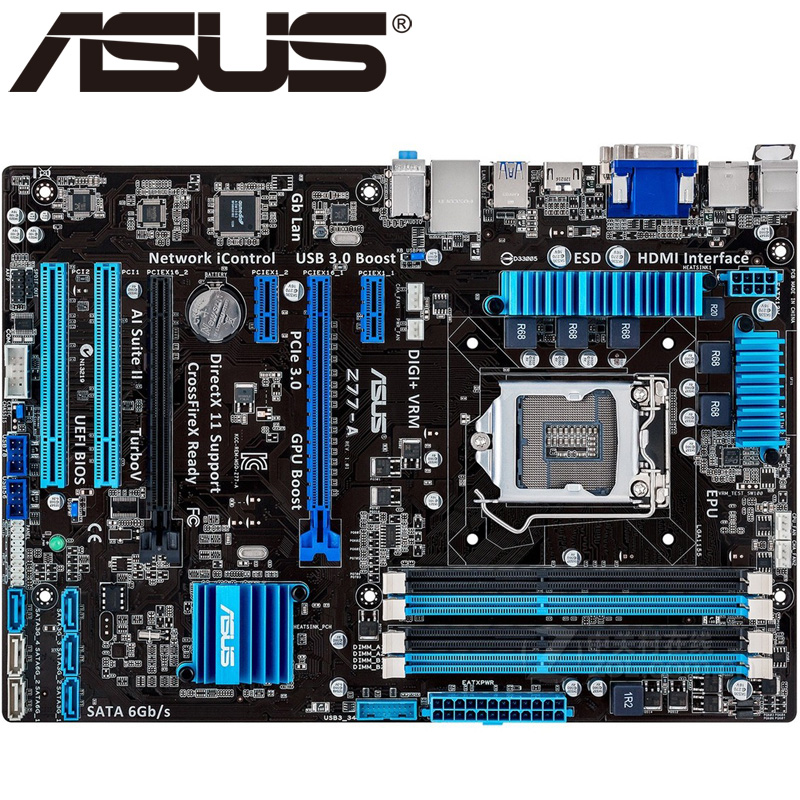 ASUS Z77-A Desktop Motherboard Z77 Socket LGA 1155 i3 i5 i7 DDR3 32G ATX UEFI BIOS Original Used Mainboard On Sale asus p8h61 plus desktop motherboard h61 socket lga 1155 i3 i5 i7 ddr3 16g uatx uefi bios original used mainboard on sale